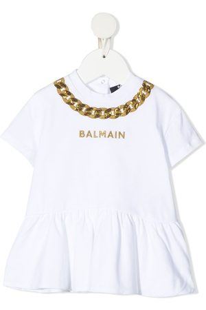 Balmain Chain embroidery cotton T-shirt dress