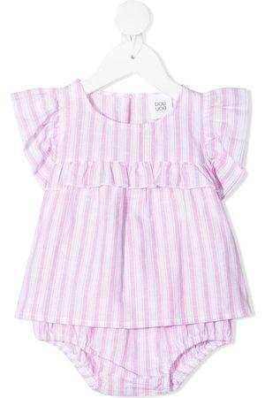 DOUUOD KIDS Baby Bodysuits - Stripe-print ruffled babygrow set
