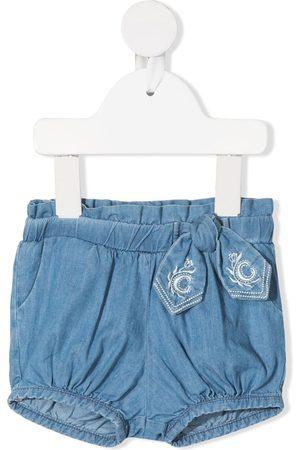 Chloé Baby Shorts - Bow-detail denim shorts