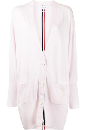 Thom Browne Women Cardigans - RWB-stripe long cardigan