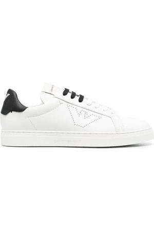 Emporio Armani Leather perforated-logo trainers