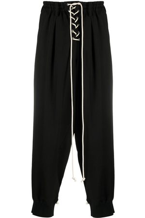 YOHJI YAMAMOTO Lace-up drop-crotch wool trousers