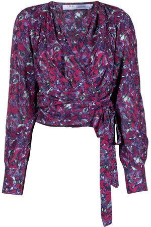 IRO Abstract-print long-sleeve cropped blouse