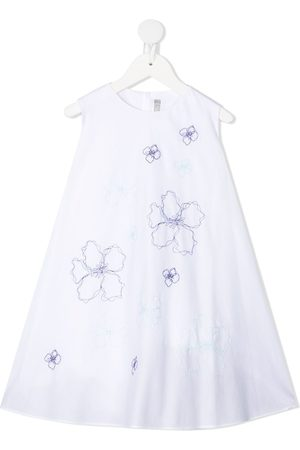 Il gufo Girls Casual Dresses - Floral-embroidered cotton dress