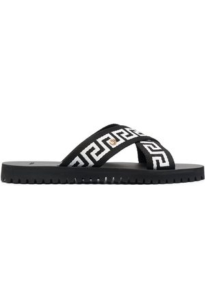 VERSACE Men Sandals - Greca-motif crossover-strap sandals