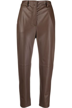 PESERICO SIGN Women Leather Pants - Cropped leather trousers