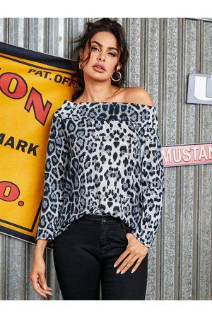 YOINS BASICS Leopard Off The Shoulder Long Sleeves Tee