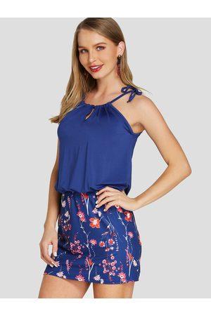 YOINS BASICS Navy Random Calico Print Mini Length Dress
