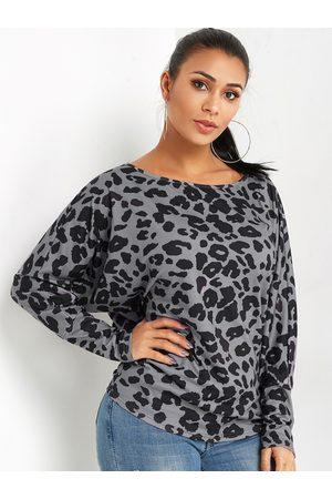 YOINS BASICS Leopard One Shoulder Long Sleeves Blouse