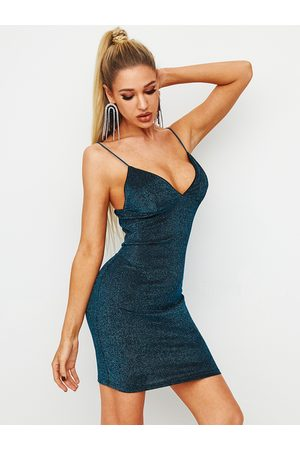 YOINS BASICS Glitter Backless Spaghetti Strap Dress