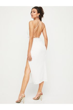 YOINS Criss-cross Design With Slit Hem Spaghetti Strap Dress
