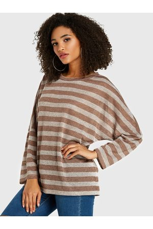 YOINS BASICS Camel Stripe Round Neck Long Sleeves Sweatshirt