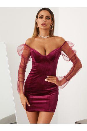 YOINS Velvet V-neck Patch Mesh Mini Dress