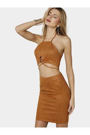 YOINS Suede Halter Open Back Lace-up Crop Top & Mini Slit Hem Skirt Co-ord
