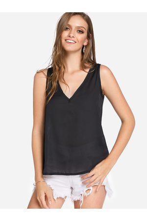 YOINS Women Tank Tops - BASICS Semi Sheer Plain V-neck Sleeveless Camis Top