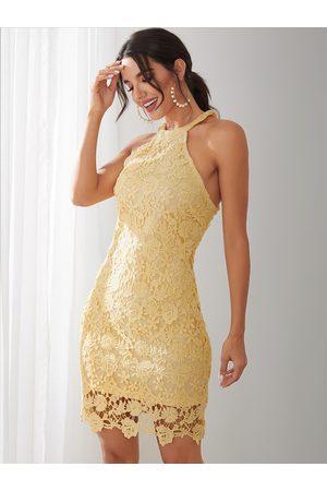 YOINS Women Halterneck Dresses - Halter Lace Mini Dress with Zip Design