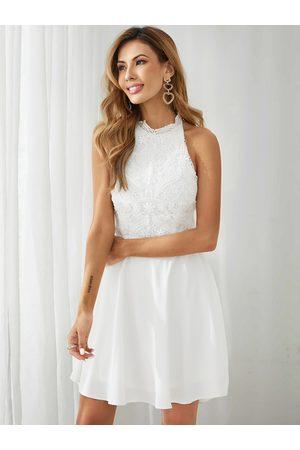 YOINS Halter Lace Backless design Lace-up design Mini Dress