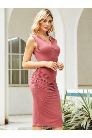 YOINS BASICS Burgundy Ruched V-neck Sleeveless Dress