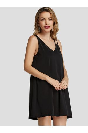 YOINS BASICS Asymmetrical V-neck Little Dress