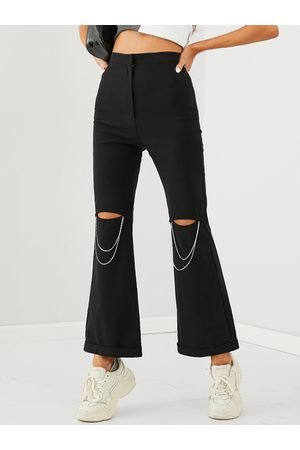 YOINS Cut out Chain Design Flared Pants