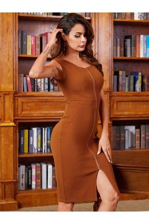 YOINS BASICS Brown Split Design Zipper Front Short Sleeves Dress