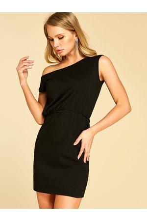 YOINS BASICS Plain One Shoulder Sleeveless Dress
