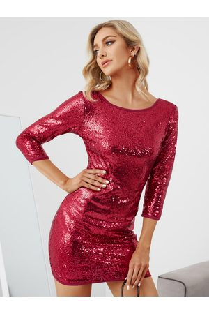 YOINS Shiny Round Neck 3/4 Length Sleeves Party Dress