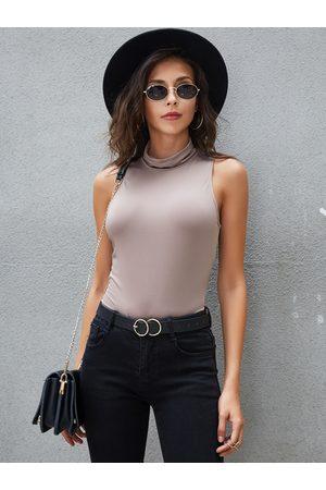YOINS BASICS Pink Stand Collar Bodycon Sleeveless Top
