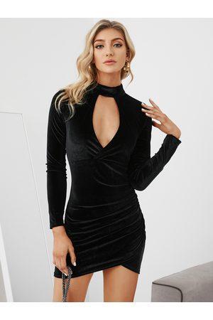 YOINS Velvet Long Sleeves Hollow Mini Dress