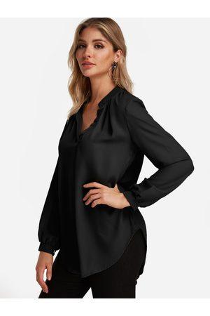 YOINS BASICS Plain V-neck Button Design Long Sleeves Curve Hem Loose Shirt