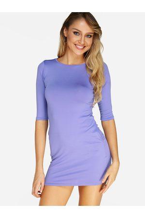 YOINS BASICS Round Neck Half Sleeves Bodycon Dress