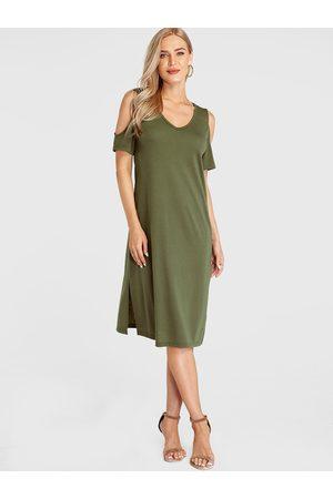YOINS BASICS Cut Out Plain Cold Shoulder Dress