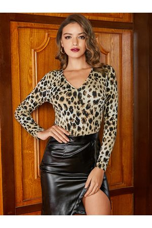 YOINS BASICS Leopard V-neck Long Sleeves Bodysuit