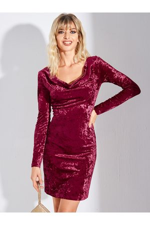 YOINS BASICS Burgundy Backless Design Round Neck Long Sleeves Dress