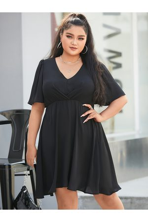 YOINS Plus Size V-neck Pleated Design Short Sleeves Mini Dress