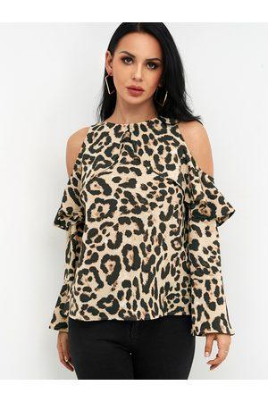 YOINS Leopard Cold Shoulder Long Bell Sleeves Flouncy Blouse