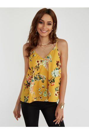 YOINS Random Floral Print V-neck Cami Top