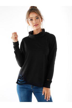 YOINS BASICS Ripped Design High Neck Long Sleeves Knit Top