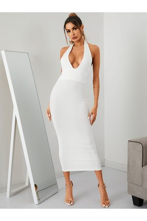 YOINS Backless Ribbed Knit Deep V Neck Sleeveless Dress