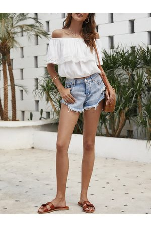 YOINS Off-the-shoulder Ruffled Crop Top