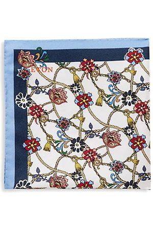 Eton Floral Medallion Silk Pocket Square