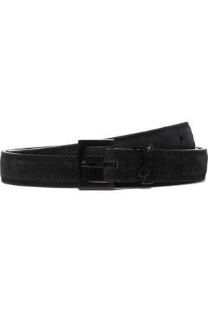 SAINT LAURENT 2cm Logo-Embellished Suede Belt