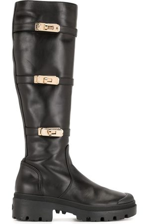 Madison.Maison Buckle detail knee-high boots