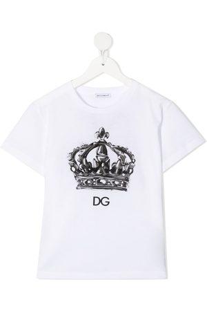Dolce & Gabbana Boys Short Sleeve - Crown-print logo T-shirt