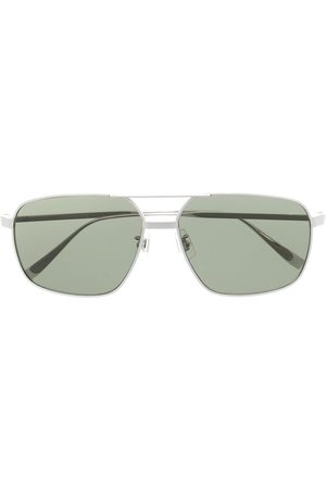 Dunhill Men Sunglasses - Angular hammered-arm aviator sunglasses