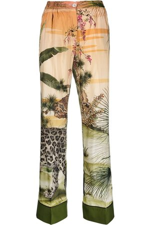 F.R.S For Restless Sleepers Jungle silk-blend palazzo trousers