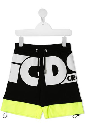 GCDS Logo print cotton track shorts