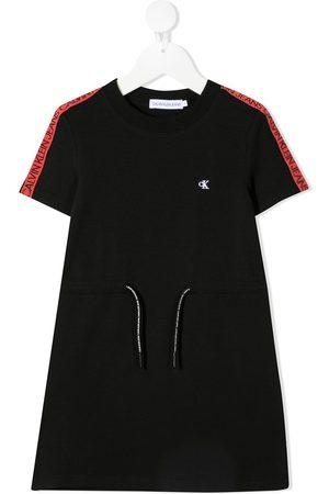 Calvin Klein Girls Printed Dresses - Logo-print drawstring short dress