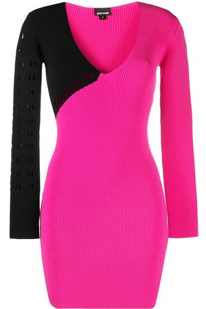 Roberto Cavalli Perforated ribbed-knit dress