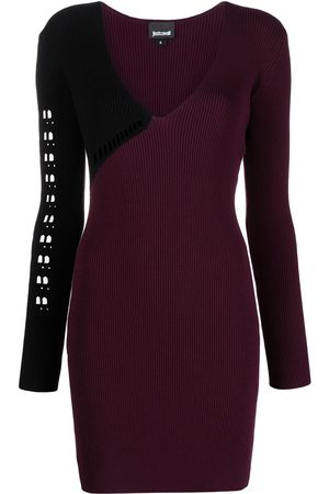 Roberto Cavalli Perforated ribbed-knit dress